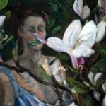 Clare peeping through magnolia by Katherine Nixon