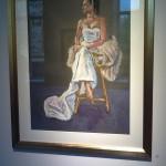 Clare in wedding dress & fur by Alison Hawthorne