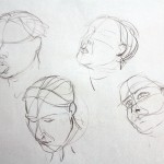Life Drawing for Animation and Illustration covers many aspects, including up close work on facial features. Here Michael Bass demonstrated quick sketches of Clare's head and face in a few short strokes
