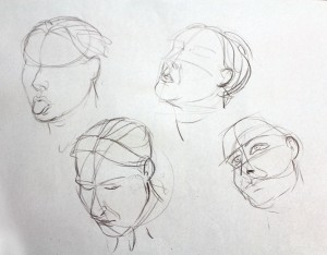 Head sketches of Clare by Michael Bass, Canadian Animator, Director & Tutor at Life Drawing for Animation sessions