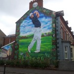 This mural of Rory McIlroy features in the Holylands area of Belfast and is an example of using art to promote positive messages and community spirit - the man in the left hand side is a local who lives just beside the mural itself
